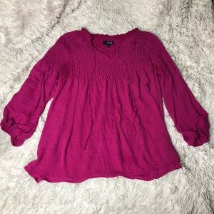 Hot Pink Chiffon Ribbed Blouse!